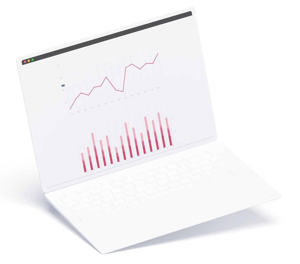 laptop with graphs illustration